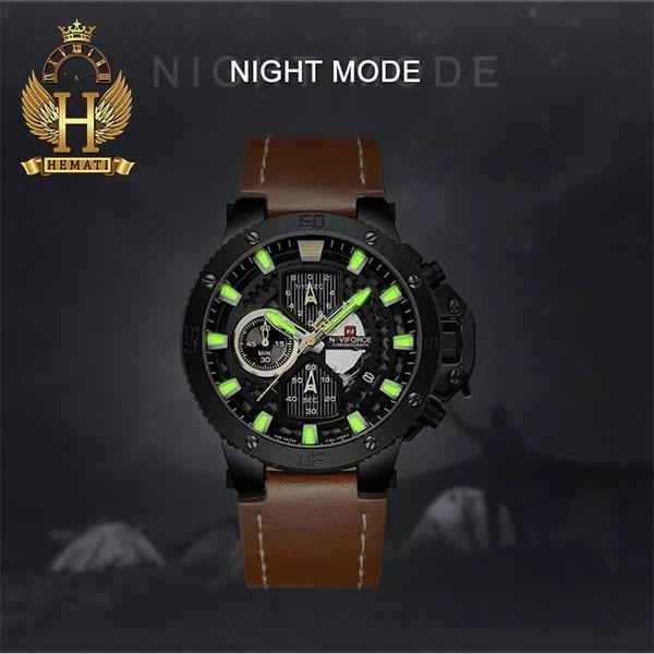 ساعت مردانه نیوی فورس مدل naviforce nf9159m قاب مشکی با بند عسلی