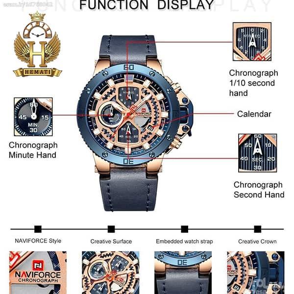 ساعت مردانه نیوی فورس مدل naviforce nf9159m سرمه ای رزگلد