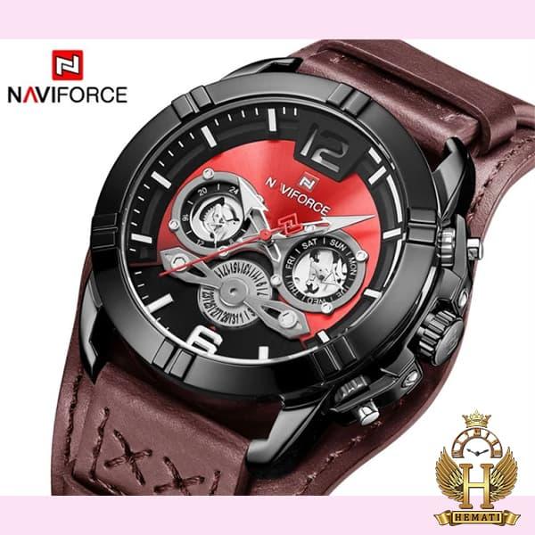 قیمت ساعت مردانه نیوی فورس مدل naviforce nf9162m قاب مشکی با بند چرم قهوه ای طرح ساعت پورشه دیزاین