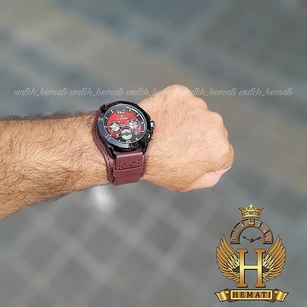 ساعت مردانه نیوی فورس مدل naviforce nf9162m قاب مشکی با بند چرم قهوه ای طرح ساعت پورشه دیزاین