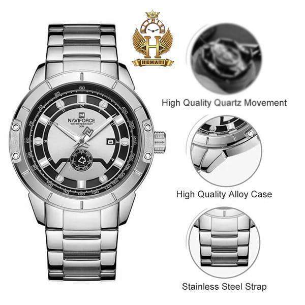 خرید انلاین ساعت مردانه نیوی فورس مدل naviforce nf9117m مشکی رزگلد