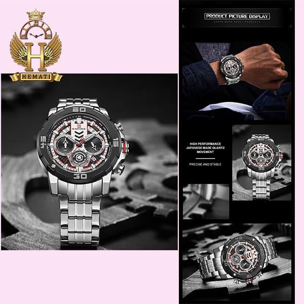 خرید اینترنتی ساعت مردانه نیوی فورس مدل naviforce nf9175m نقره ای مشکی کورنوگرافدار