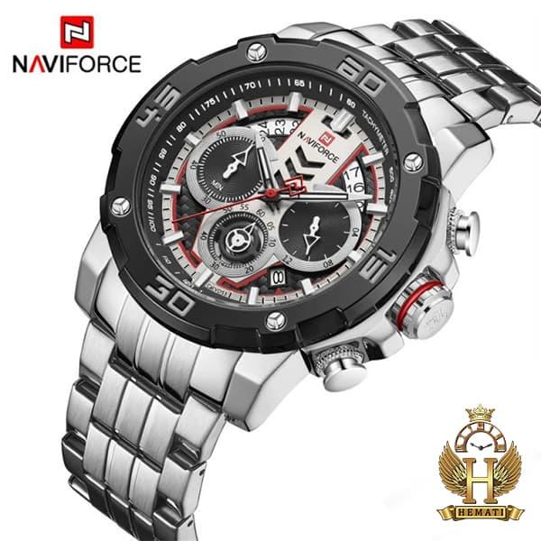 مشخصات ساعت مردانه نیوی فورس مدل naviforce nf9175m نقره ای مشکی کورنوگرافدار