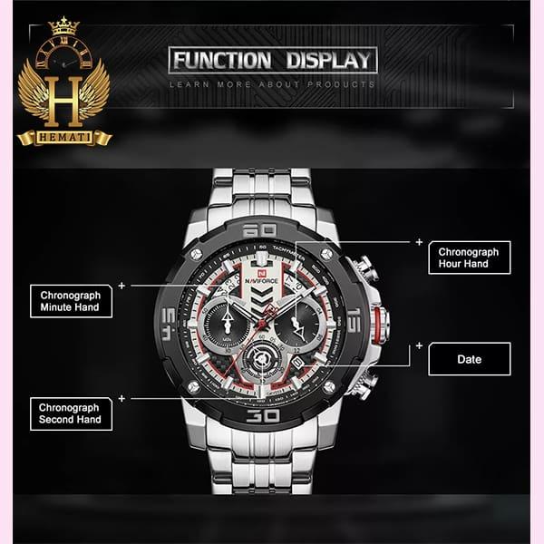 قیمت ساعت مردانه نیوی فورس مدل naviforce nf9175m نقره ای مشکی کورنوگرافدار