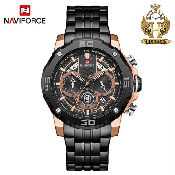 قیمت ساعت مردانه نیوی فورس مدل naviforce nf9175m مشکی رزگلد کورنوگرافدار