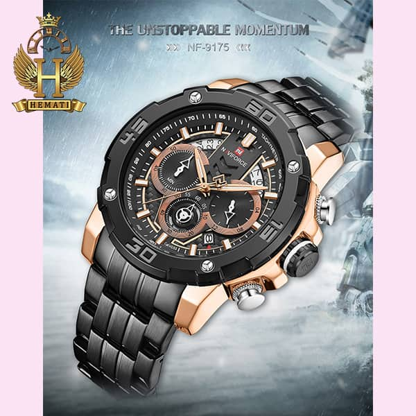 خرید ارزان ساعت مردانه نیوی فورس مدل naviforce nf9175m مشکی رزگلد کورنوگرافدار