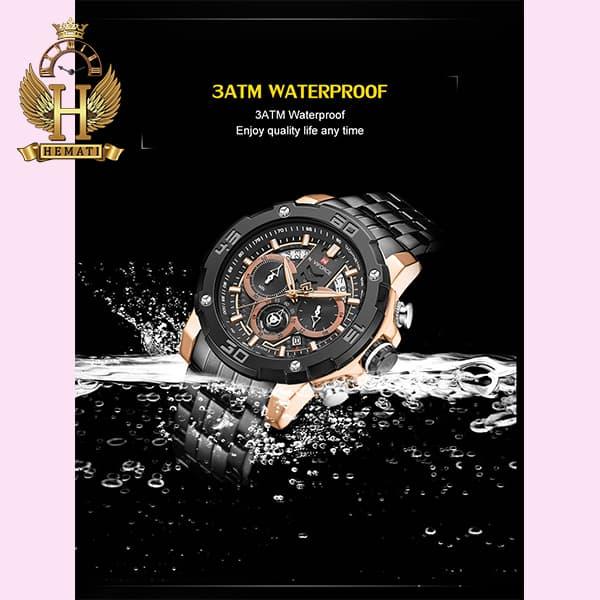 خرید انلاین ساعت مردانه نیوی فورس مدل naviforce nf9175m مشکی رزگلد کورنوگرافدار