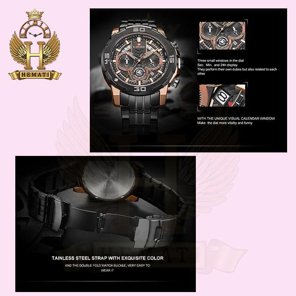 قیمت ساعت مچی مردانه نیوی فورس مدل naviforce nf9175m مشکی رزگلد کورنوگرافدار
