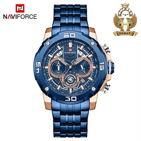 قیمت ساعت مردانه نیوی فورس مدل naviforce nf9175m سرمه ای رزگلد کورنوگرافدار