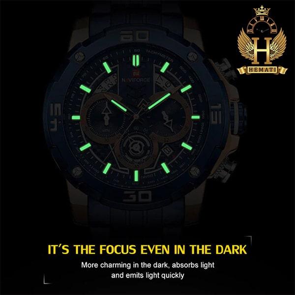 مشخصات ساعت مردانه نیوی فورس مدل naviforce nf9175m سرمه ای رزگلد کورنوگرافدار