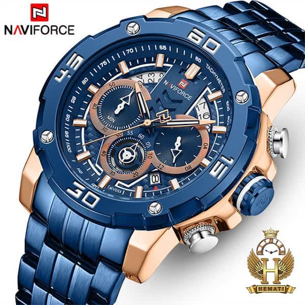 خرید اینترنتی ساعت مردانه نیوی فورس مدل naviforce nf9175m سرمه ای رزگلد کورنوگرافدار