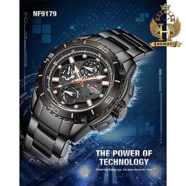 خرید ساعت مردانه نیوی فورس مدل naviforce nf9179m مشکی 3موتوره فعال