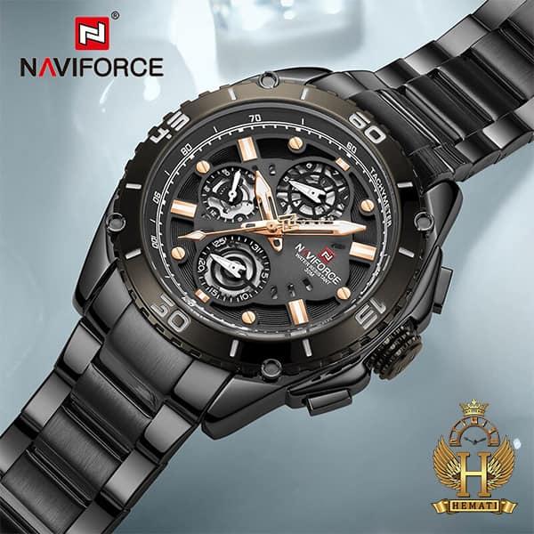 خرید اینترنتی ساعت مردانه نیوی فورس مدل naviforce nf9179m مشکی 3موتوره فعال