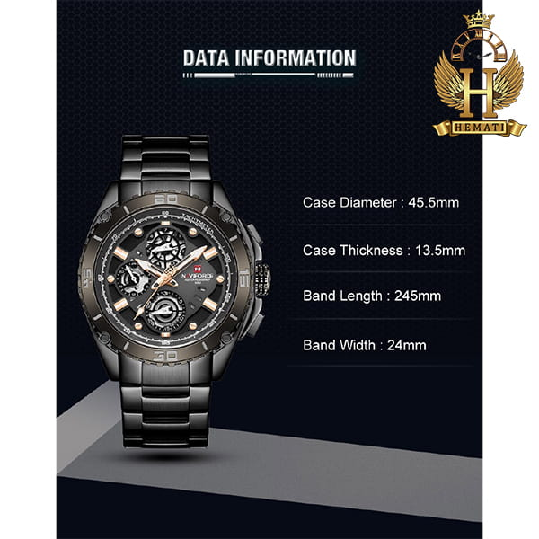 خرید انلاین ساعت مردانه نیوی فورس مدل naviforce nf9179m مشکی 3موتوره فعال