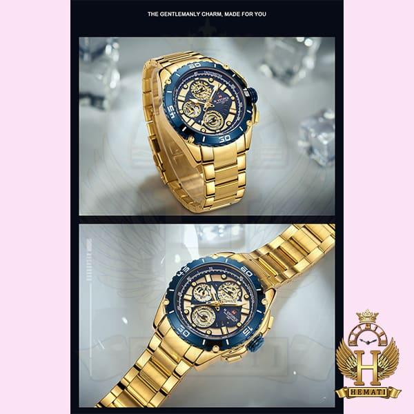 خرید ساعت مردانه نیوی فورس مدل naviforce nf9179m طلایی آبی 3موتوره فعال