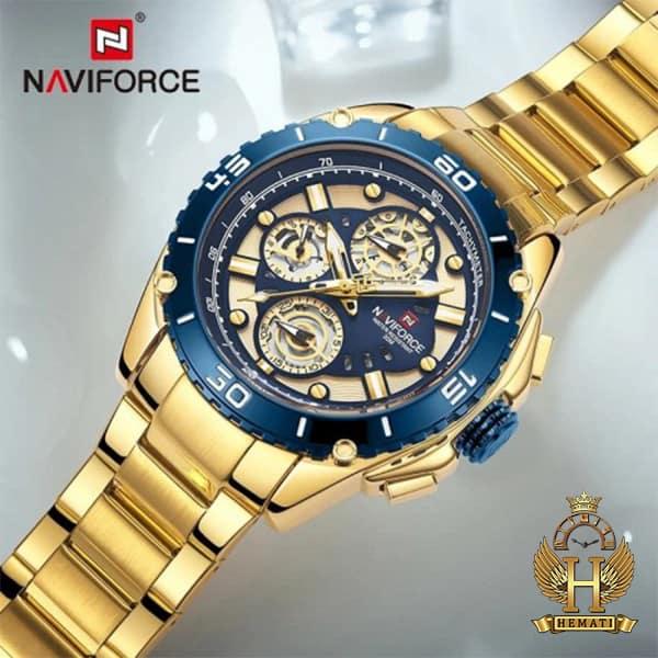 مشخصات ساعت مردانه نیوی فورس مدل naviforce nf9179m طلایی آبی 3موتوره فعال