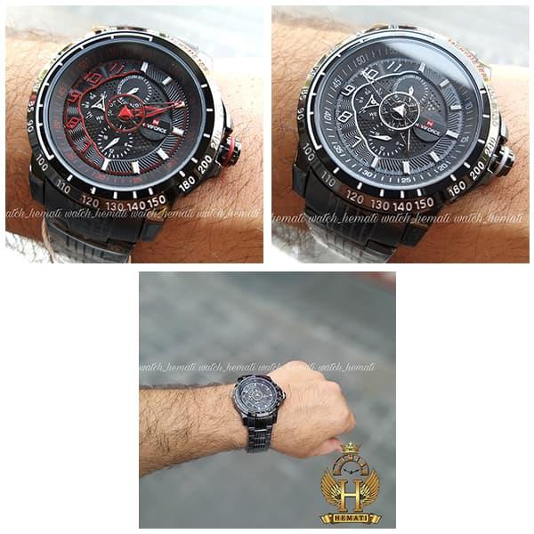 ساعت مردانه نیوی فورس مدل naviforce nf9180m مشکی قرمز 3موتوره فعال