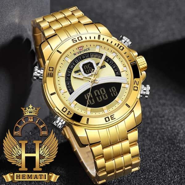 قیمت ساعت مردانه دو زمانه نیوی فورس مدل naviforce nf9181m قاب و بند کامل طلایی