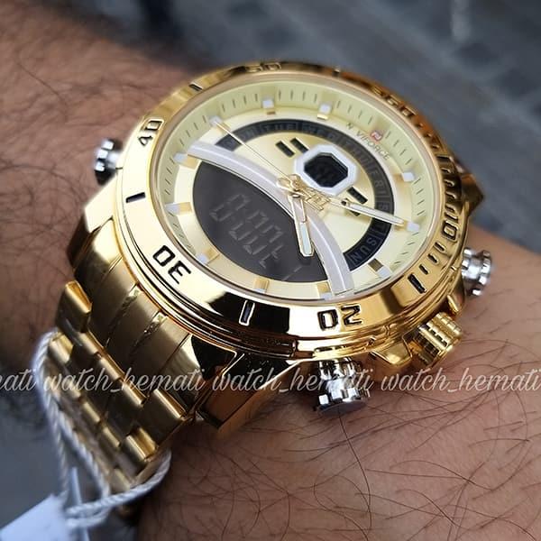 مشخصات ساعت مردانه دو زمانه نیوی فورس مدل naviforce nf9181m قاب و بند کامل طلایی