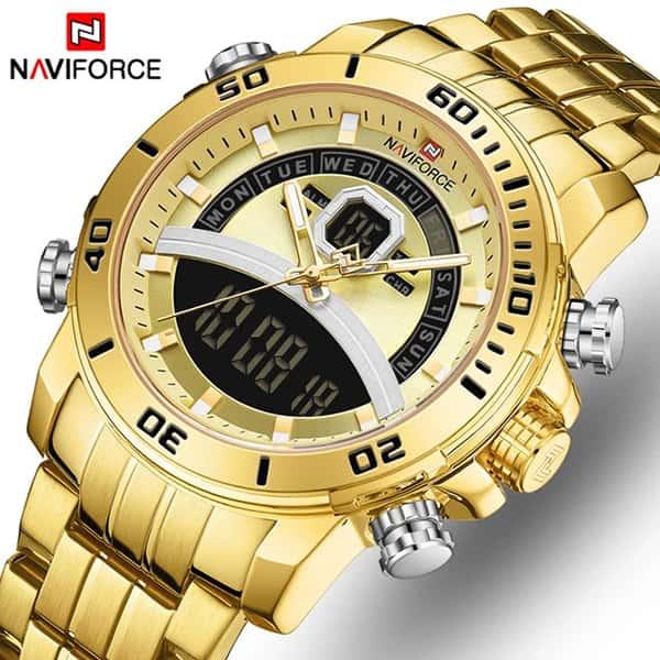 نمایندگی ساعت مردانه دو زمانه نیوی فورس مدل naviforce nf9181m قاب و بند کامل طلایی