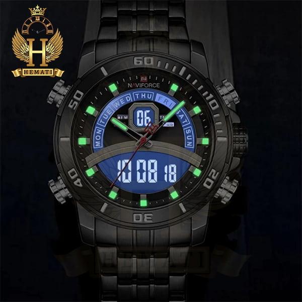 خرید ساعت مردانه دو زمانه نیوی فورس مدل naviforce nf9181m قاب و بند کامل مشکی