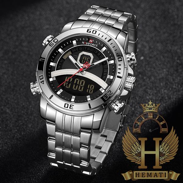 قیمت ساعت مردانه دو زمانه نیوی فورس مدل naviforce nf9181m قاب و بند کامل نقره ای