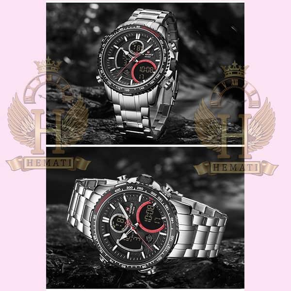 ساعت مردانه دو زمانه نیوی فورس مدل naviforce nf9182m نقره ای مشکی