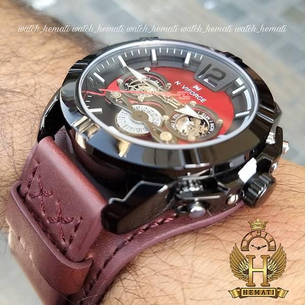 خرید ساعت مردانه نیوی فورس مدل naviforce nf9162m قاب مشکی با بند چرم قهوه ای طرح ساعت پورشه دیزاین