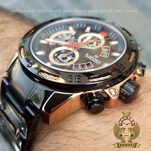 خرید ساعت مردانه نیوی فورس مدل naviforce nf9165m مشکی رزگلد