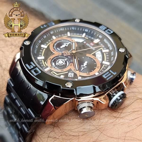 خرید ساعت مردانه نیوی فورس مدل naviforce nf9175m مشکی رزگلد کورنوگرافدار