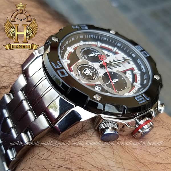 خرید ساعت مردانه نیوی فورس مدل naviforce nf9175m نقره ای مشکی کورنوگرافدار
