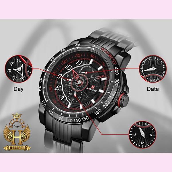 خرید ساعت مردانه نیوی فورس مدل naviforce nf9179m نقره ای مشکی 3موتوره فعال