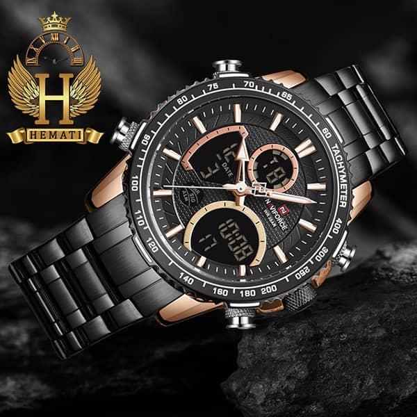 خرید ساعت مردانه دو زمانه نیوی فورس مدل naviforce nf9182m مشکی رزگلد
