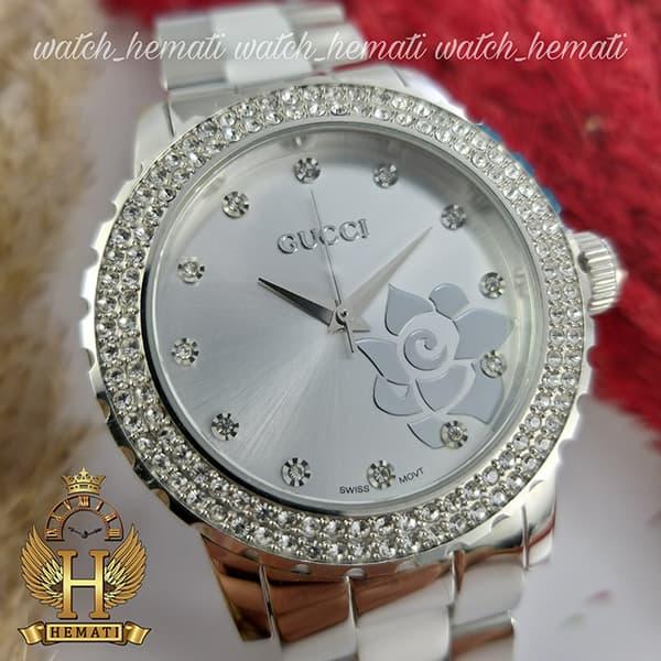 قیمت ، مشخصات ساعت زنانه گوچی GUCCI 14159L نفره ای صفحه گل دار