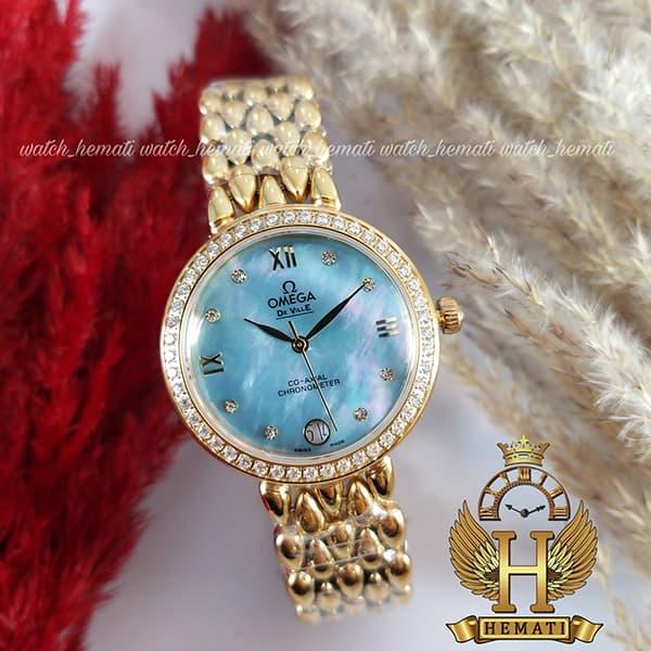 خرید ، قیمت ، مشخصات ساعت مچی زنانه امگا دویل 8632G طلایی صفحه آبی