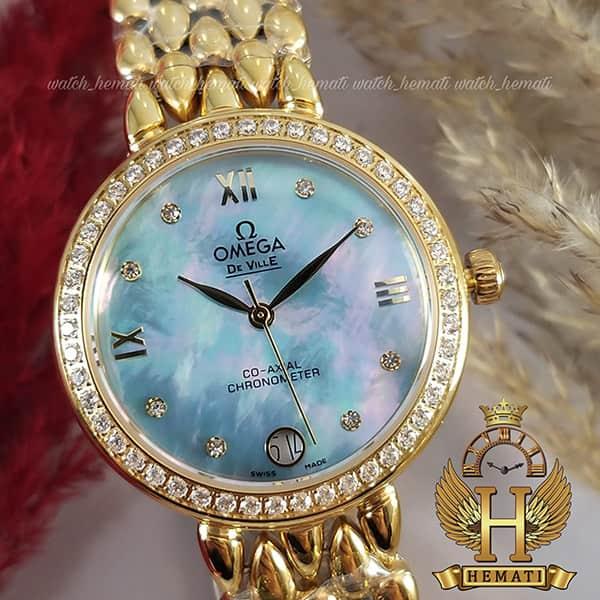 خرید ارزان ساعت مچی زنانه امگا دویل 8632G طلایی صفحه آبی