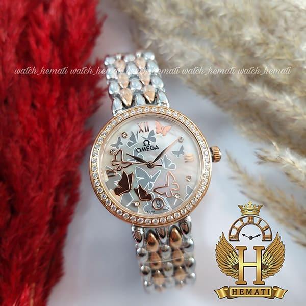 خرید ، قیمت ، مشخصات ساعت مچی زنانه امگا دویل 8632G نقره ای رزگلد صفحه پروانه ای