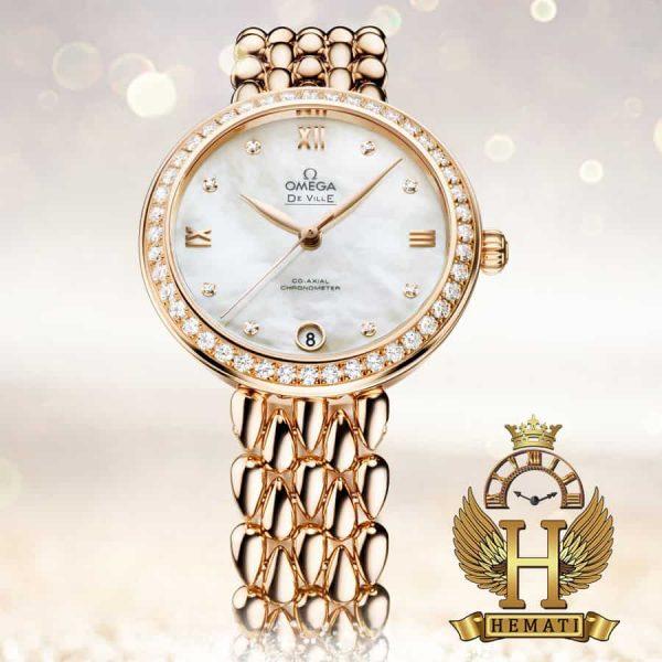 خرید ، قیمت ، مشخصات ساعت زنانه امگا دویل de ville رزگلد صفحه ساده سفید صدفی