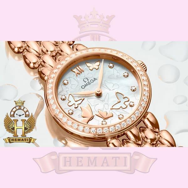 خرید ، قیمت ، مشخصات ساعت زنانه امگا دویل رزگلد صفحه پروانه ای
