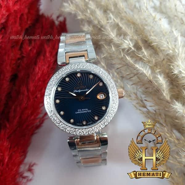 خرید ، قیمت ، مشخصات ساعت زنانه امگا لیدی ماتیک Ladymatic نقره ای-رزگلد هایکپی صفحه سرمه ای