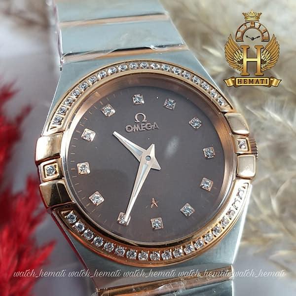 خرید ارزان ساعت زنانه امگا کانسلیشن Omega Constellation نقره ای طلایی دورقاب نگین دار، صفحه ساعت قهوه ای