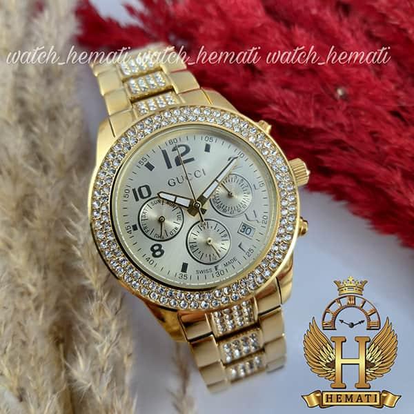 خرید ، قیمت ، مشخصات ساعت زنانه گوچی GUCCI 28601L طلایی نگین دار