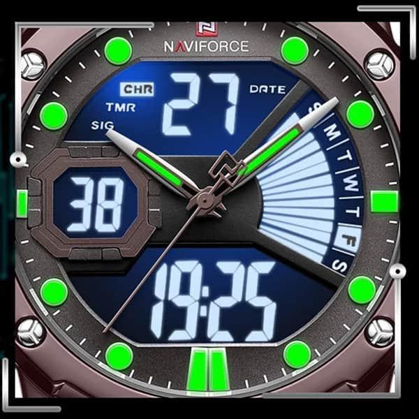 خرید ساعت مچی مردانه دو زمانه نیوی فورس مدل naviforce nf9172m تمام مشکی و بند حصیری