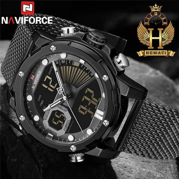مشخصات ساعت مچی مردانه دو زمانه نیوی فورس مدل naviforce nf9172m تمام مشکی و بند حصیری