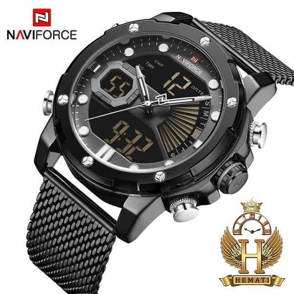 خرید اینترنتی ساعت مچی مردانه دو زمانه نیوی فورس مدل naviforce nf9172m تمام مشکی و بند حصیری