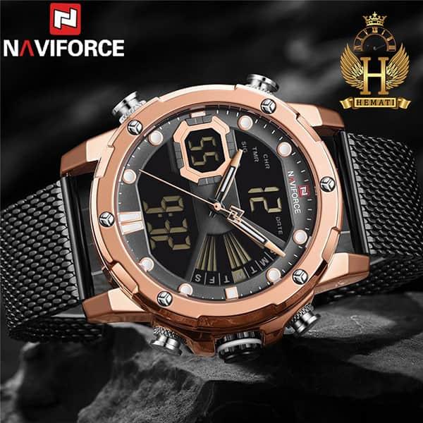 مشخصات خرید ساعت مچی مردانه دو زمانه نیوی فورس مدل naviforce nf9172m قاب رزگلد و بند حصیری