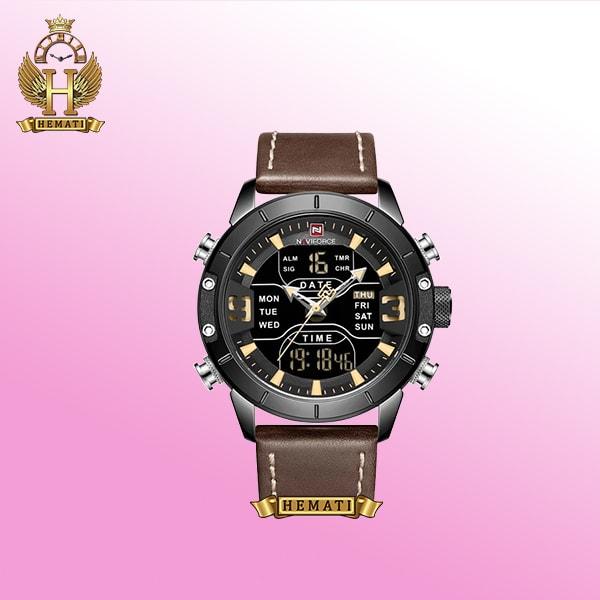 ساعت مردانه nf9153m naviforce نوی فورس بند قهوه ای صفحه و قاب مشکی