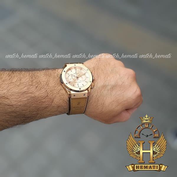 خرید اینترنتی ساعت مردانه هابلوت HU3M104 Big Bang سه موتوره قاب و صفحه و قفل رزگلد
