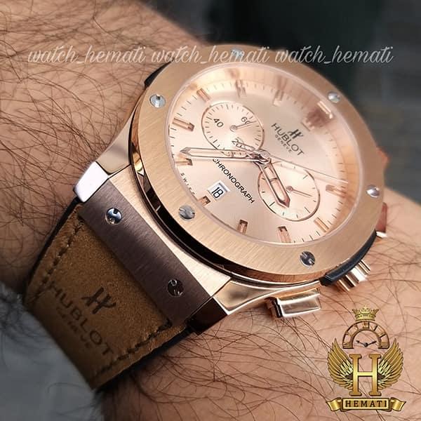 ساعت مردانه هابلوت HU3M104 Big Bang سه موتوره قاب و صفحه و قفل رزگلد با بند جیر قهوه ای روشن