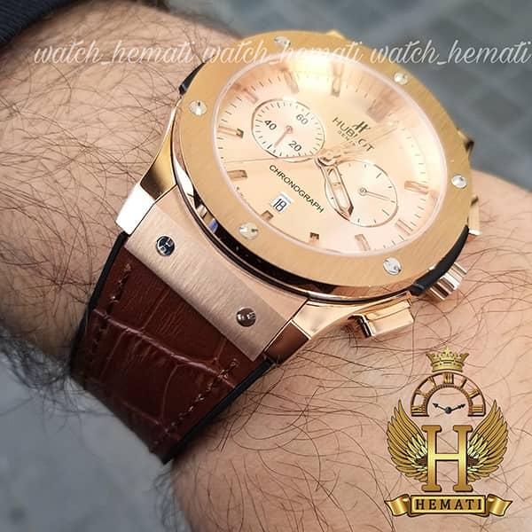 ساعت مردانه هابلوت HU3M104 Big Bang سه موتوره قاب و صفحه و قفل رزگلد با بند چرم قهوه ای